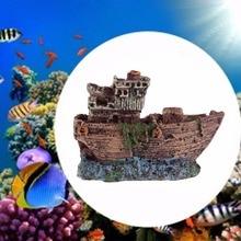 Aquarium Ornament Sunk Ship Wreck Boat Fish Tank Cave Decor Underwater Resin Driftwood
