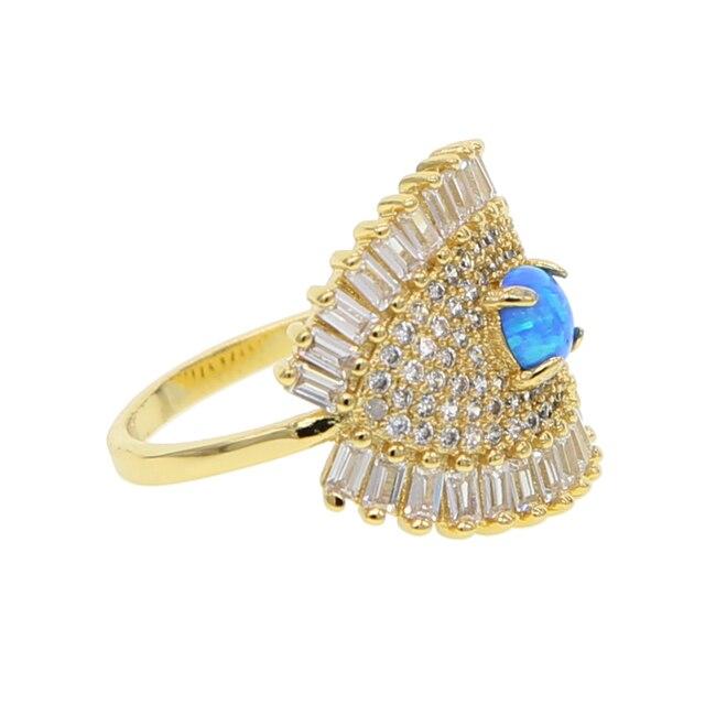 Mắt biểu tượng màu vàng Nhẫn xanh opal cho womenTrendy đồ trang sức dropshipping bagüés femme tuyên bố đồ trang sức