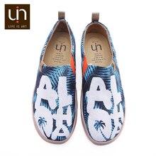 UIN אלוהה עיצוב צבוע גברים נעליים יומיומיות קל להחליק על בד סניקרס אופנה נסיעות שטוח זכר מוקסינים
