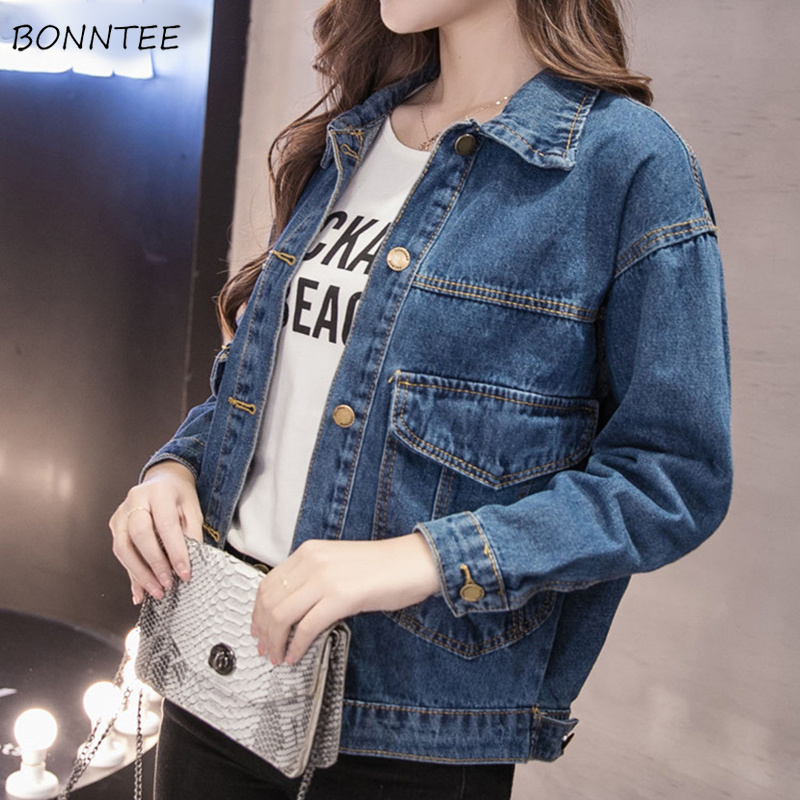 Jackets Women Solid Loose Pockets Turn-down Collar Womens Basic Jacket Korean Style Students Simple All-match Leisure Trendy New