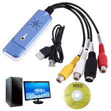 2017 New Portable USB 2.0 Video Audio Capture Card Adapter VHS DC60 DVD Converter Composite RCA Blue