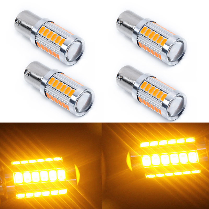 2 Pcs Amber 1156 33SMD Car Tail Turn Signal Brake Reverse Light Lamp Bulbs New