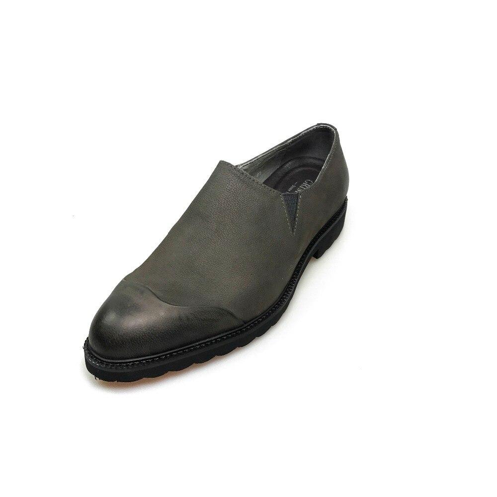 Luxus 2019 Mit Männer Männlichen Grau Gray Schuhe Aus Klassische Auf Vintage Zip Leder Echtem Grimentin Caual Neue Slip COPBZqnw