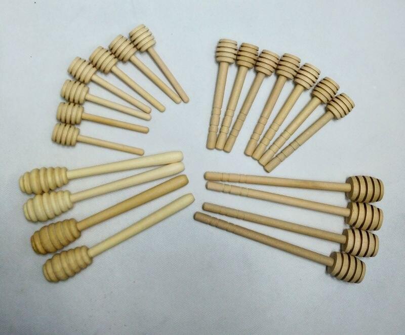 100pcs/lot 8cm 10cm 14cm Mini Wooden Honey Stick Wood Honey Dipper Party Supply