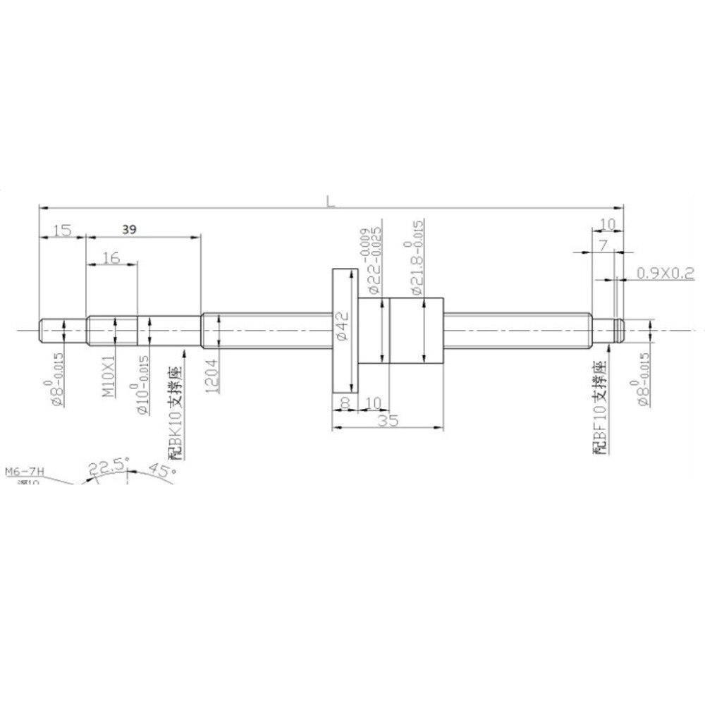 SFU1204 jeu: SFU1204 vis à billes roulées C7 avec extrémité usinée + 1204 écrou à billes + boîtier d'écrou + support d'extrémité BK/BF10 + coupleur RM1204 - 6