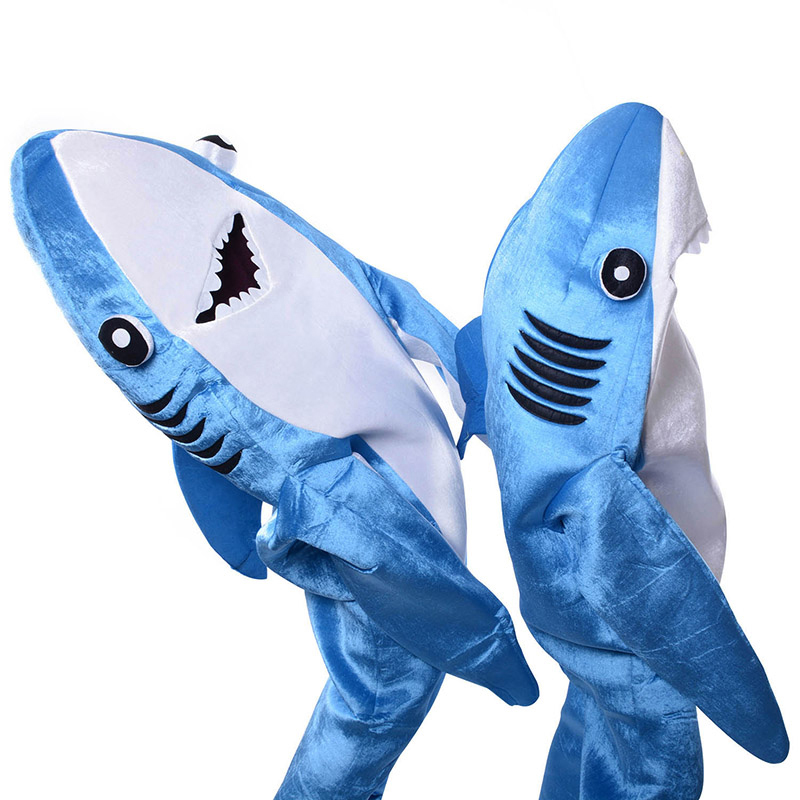 Взрослый синий костюм акулы талисмана, маскарадный костюм, костюм на Хэллоуин, Рождество, костюм голодной акулы - 2