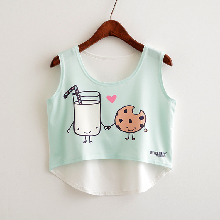 Women crop top sexy 2019 cartoon print cute crop top femme white blue crop top off shoulder bust plus size crop top in Tank Tops from Women 39 s Clothing