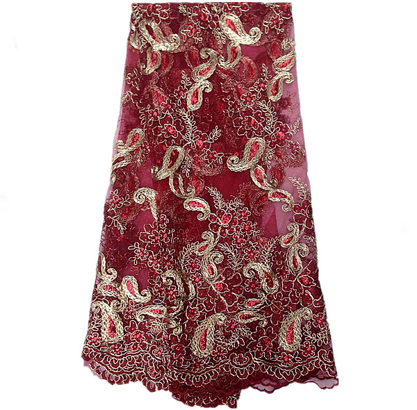 d757e24d177e4 DP2-1 wine (12 color)most popular African net lace fabric with  sequins