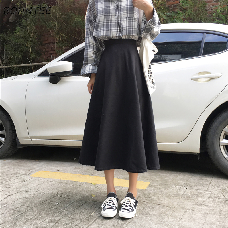 Skirts Women 2020 New Retro Solid High Waist Ladies Long A-line Skirt All-match Korean Style Leisure Womens Elegant Daily Trendy