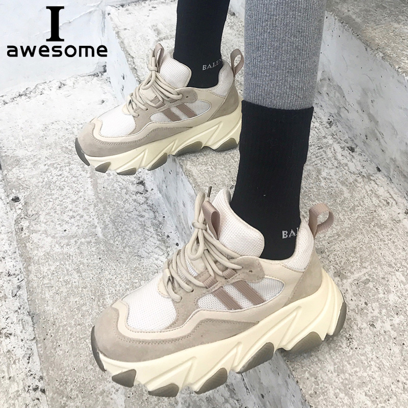 Véritable En Cuir Rétro Papa Sneakers chaussures à semelles compensées femmes Chunky sneakers confortable femme femmes Chaussures Semelle Épaisse Dames chaussures