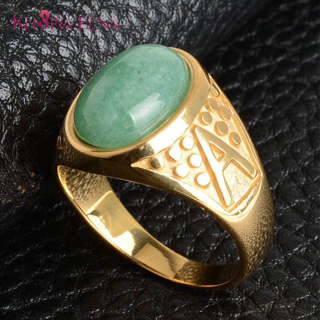 New Arrival Luxury natural green jade Inlay Finger Rings for Women Men Fashion 316L Stainless Steel Rose Gold Ring Jewelry never