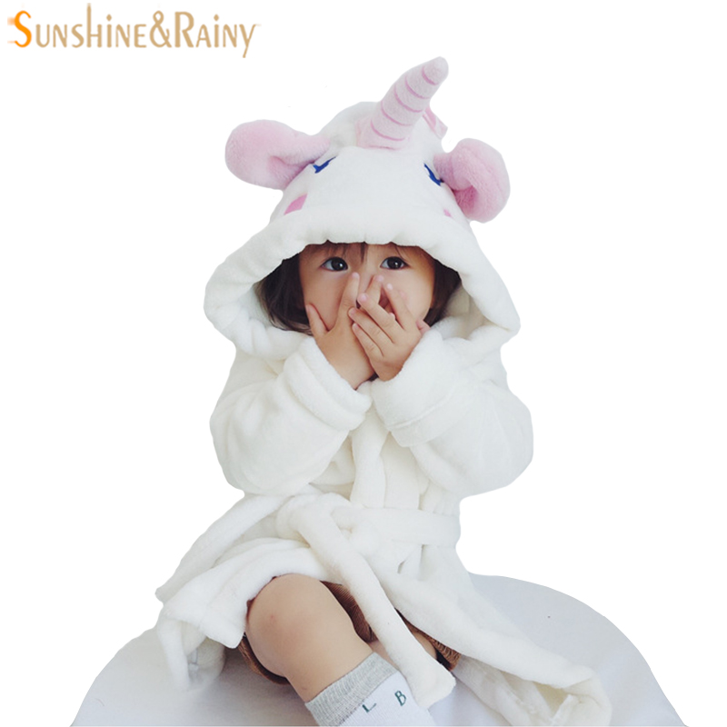 WENDYWU NEW COME Children's Bathrobes Unicorn Style For Girls Flannel Cartoon Animal Robes Dressing Gown Kids Home Clothing