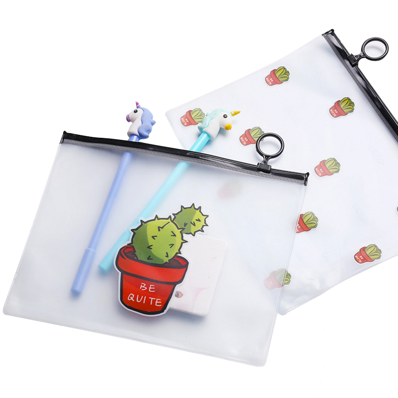 1 Pcs/lot Cute Cute Cartoon Cactus Translucent A5 File Bag Document Bag  DIY Stationery Bag  Office School Supplies