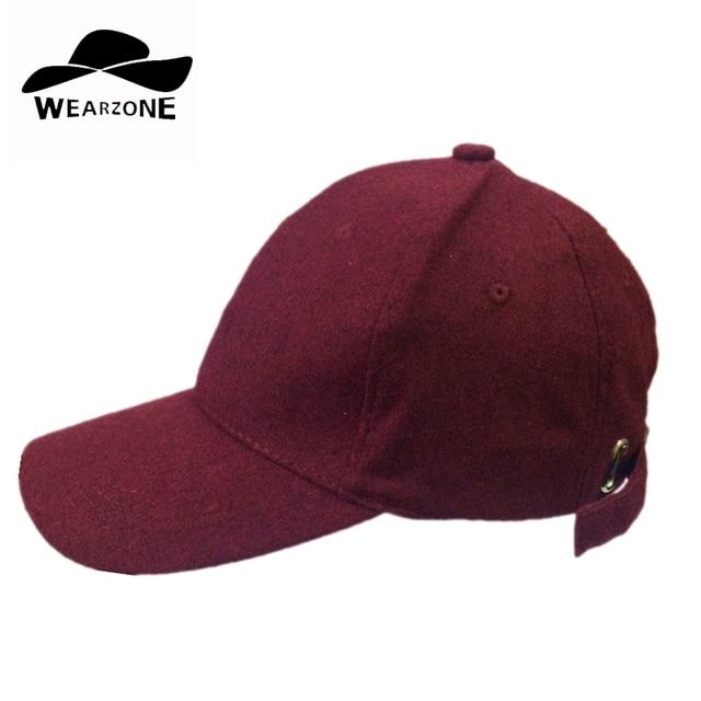 ea55f71de23 2016 Man Baseball Hat New Woolen Cap Flannel Snapback Bomber Hat Casual  hats womane burgundy color hip hop baseball caps