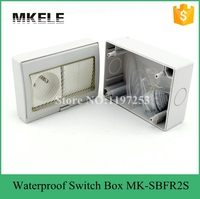 MK-SBFR2SใบรับรองCEคุณภาพมั่นใจกลางแจ้งไฟฟ้าพีวีซีกันน้ำ2แก๊งสวิทช์และซ็อกเก็ตกล่องที่ทำในประ