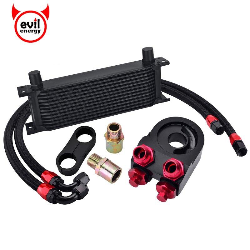 evil energy 13Row AN10 Engine Transmission Oil Cooler Kit Oil Adapter Filter Swivel Fuel Hose Line