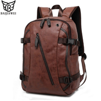 BAIJIAWEI Men Mix Cow Leather Backpacks Men S Fashion Backpack Travel Bags Western College Style Bags