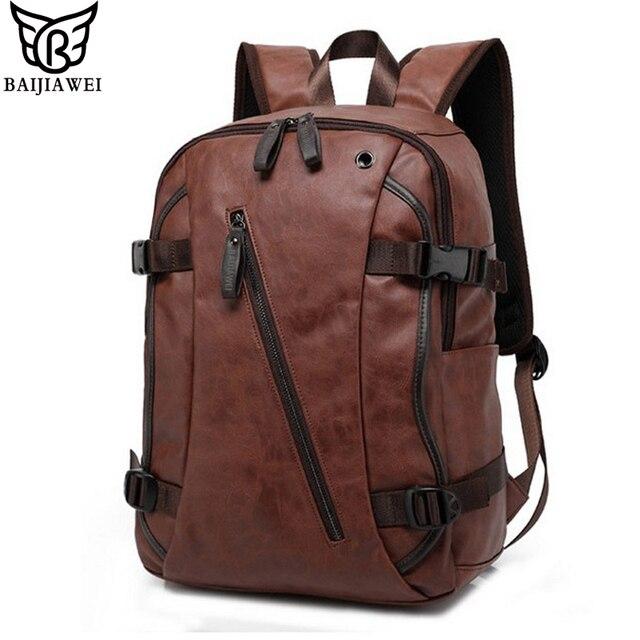 BAIJIAWEI Men PU Patent Leather Backpacks Men's Fashion Backpack ...