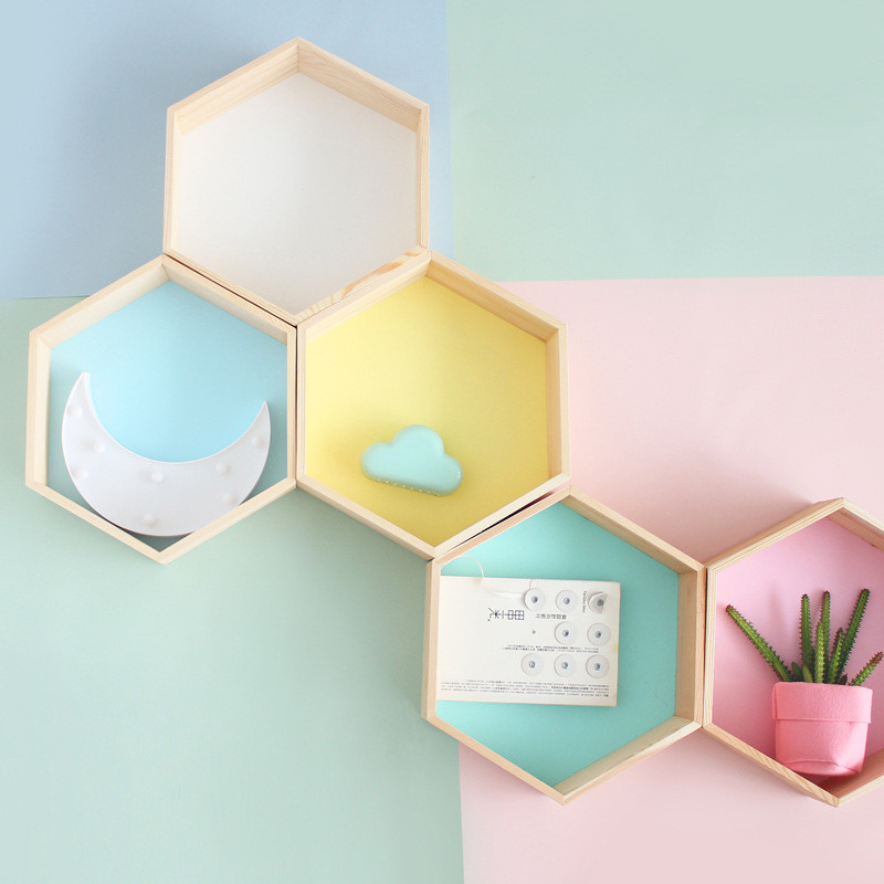 Baby-Room-Wooden-Hexagonal-Shelf-Storage-Wall-Decorations-Candy-Organization-Hanger-Photography-Props-Shelves-Storage
