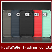 Phone Case Environmental Carbon Fiber Soft TPU Case Anti-Skid shockproof Ultra thin Cover For Samsung Galaxy S6 / S6 Edge Case