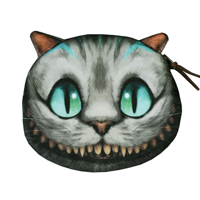 Cheshire Cat Coin Purse Animal Prints Coin Wallet Women Zipper Case Children Cute Wallet Ladies Makeup Buggy Bag Coin Pouch 2017 new coin purses wallet ladies 3d printing cats dogs animal big face change fashion cute small zipper bag for women pouch