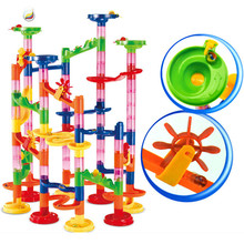 105Pcs DIY Construction Marble Race Run Maze Balls Pipeline Type Track Building Blocks Sets Toys for Children Christmas Gifts 105pcs diy construction marble race run maze balls building blocks deluxe marble race game toys kids christmas xmas gifts toys
