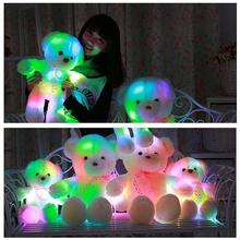 50/35cm LED Teddy Bear Music Stuffed Animals Plush Toys Large Doll Music Glowing Colorful Cute Toy Children Christmas Gifts