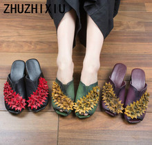 ZHUZHIXIU-Free shipping,2018 summer new national style genuine leather women's slippers,flower and middle heel slippers,3colors