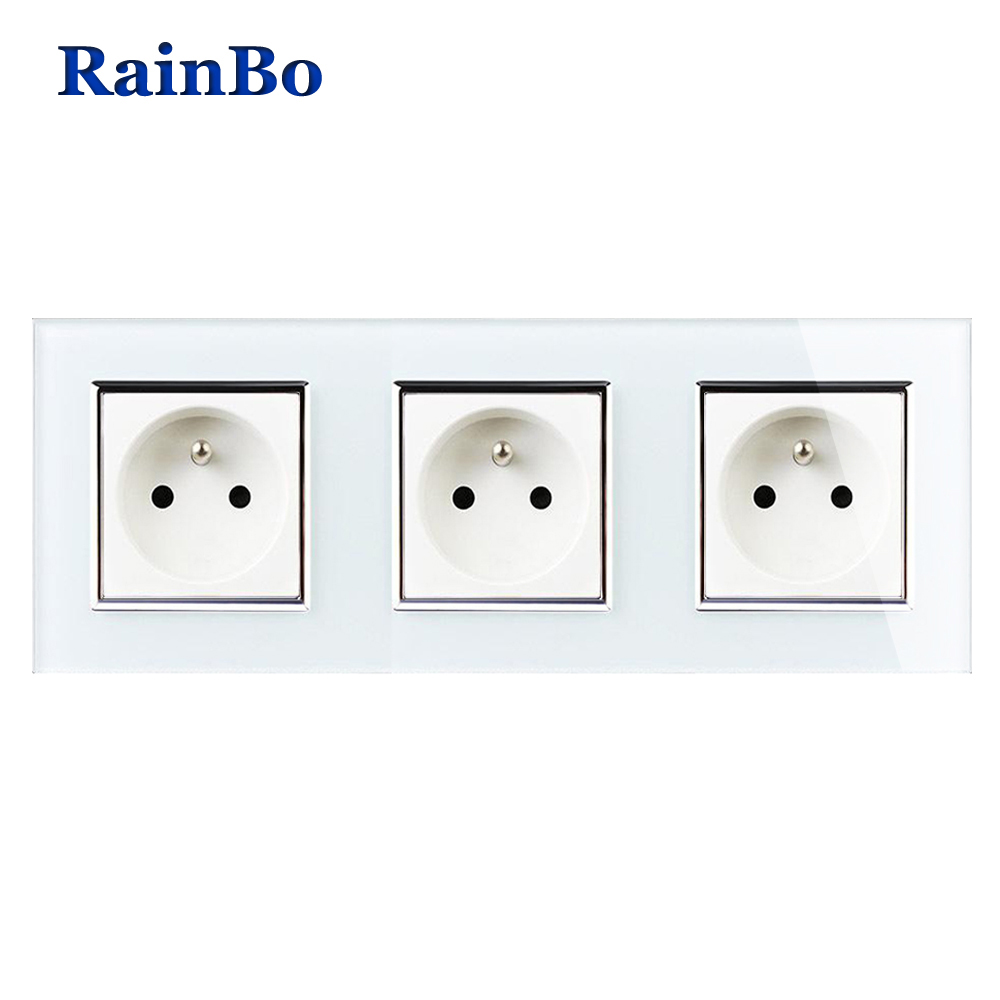RainBo Manufacturer France Standard Power Socket Glass Panel AC Wall Power Smart Outlet Free Shipping Factory A38F8F8FW/B rainbo brand free shipping wall power socket new outlet france standard crystal glass panel ac110 250v 16a wall socket a18fw b