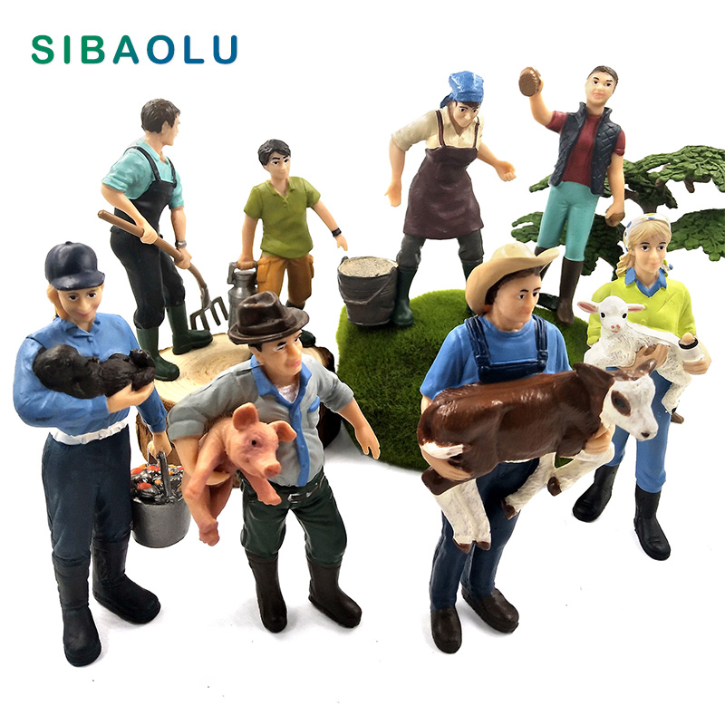 Simulation ferme tenir chien mouton vache cochon agriculteur personnes modèle figurine miniature fée jardin décor à la maison décoration accessoires jouet