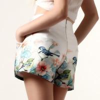 2016 Brand Designer Women Summer Casual Shorts High Waist Floral Printed Short For Crop Top European