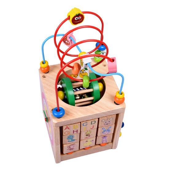 WYNLZQ garçons filles jouets en bois cercles en bois perle fil labyrinthe rouleau éducatif bois Puzzles enfant jouet cadeaux de noël enfants nouveau - 6