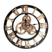 Большие настенные часы промышленного стиля винтажные часы Европейский стимпанковый механизм настенные украшения дома современный дизайн ...