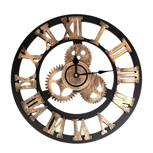 Large wall clock Industrial Style Vintage Clock European Steampunk Gear Wall Home Decoration modern 3d wall clock dropshipping