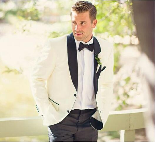 Latest Coat Pant Designs Ivory Groom Tuxedos Black Lapel Mens Wedding Party  Suits Bridegroom Wear Groomsman Suit(Jacket+Pants) 2a61eaee18bb