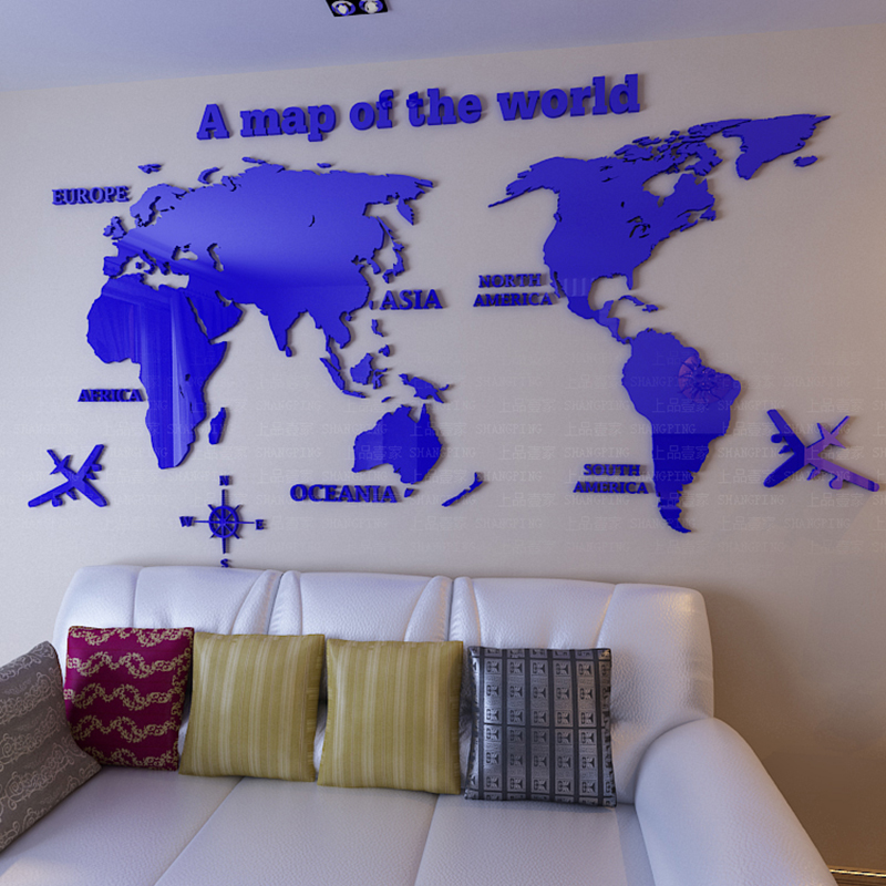 New Large Size 3d Map of World Wall Sticker Living Room Decorations Diy Removable Home Wall Decals Papel De Parede Para Quarto