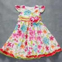Одежда для девочек новое Летнее цветочное платье из 100% хлопка