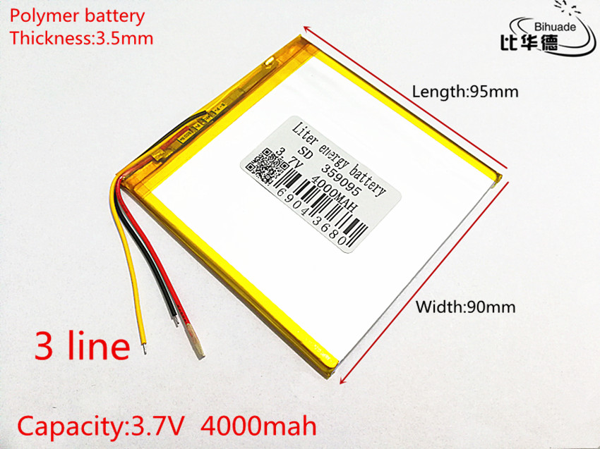 3 line 3.7 V 4000 mah tablet battery gm lithium polymer battery 359095 Li-ion battery for MP3 MP4