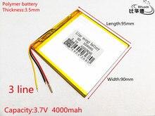 3 line 3.7 V 4000 mah tablet battery gm lithium polymer battery 359095 Li-ion battery for MP3 MP4