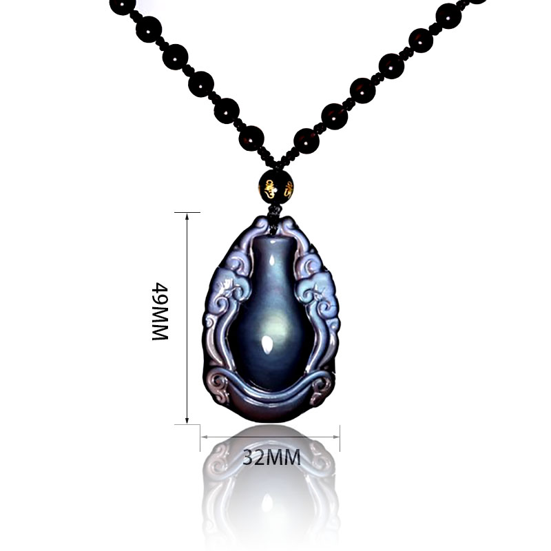 Natural Stone Obsidian Rainbow Eyes Wishful Vase Pendant Necklace Good Luck Women Men's Amulet Lucky Jewelry Pendants With chain