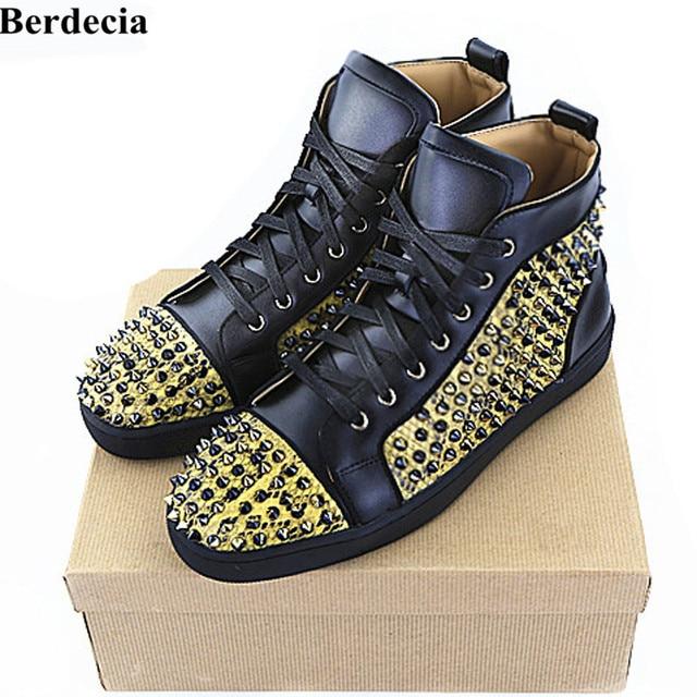 Berdecia Designer Brand Gold Spikes Red Shoes Flats Casual Shoes Men High  Top Studded Black Studs Rivet Autumn Winter Shoes Men 4b86d202086b