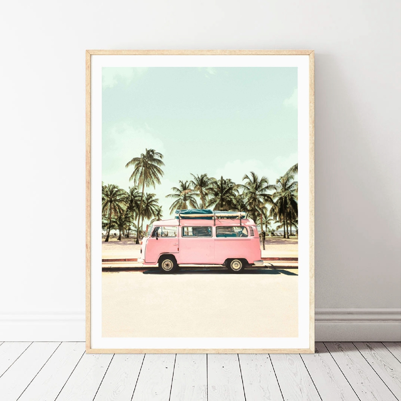 Pink Camper Van Bus Canvas Art Prints Retro Car Poster Beach Palm Trees Canvas Painting Coastal Wall Picture Boho Art Home Decor
