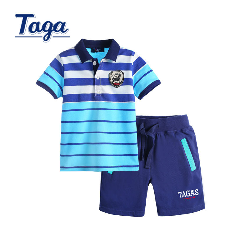 Childrens Sets TAGA Boy Kid Tops Summer Short Sleeve Tops Striped Polo Shirts + Pants kids Baby clothing set outerwear free ship family patchwork shirts summer fashion mother and child clothes daughter short sleeve shirt son striped tops kids good outerwear