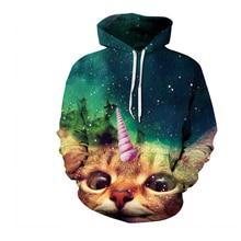 Otoño E Invierno de Los Hombres Mujeres moda Hoodies Animal impresión linda Del gato Unicornio Sudaderas Con Capucha de manga Larga sudaderas casual