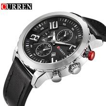Curren Relojes de Los Hombres Superiores de la Marca de Lujo de Relojes de Cuarzo Correa de Cuero de Vaca Relojes Deportivos para hombres A Prueba de agua Relogio Heren Hodinky 8193