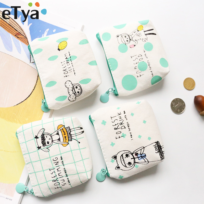 eTya Cute Cartoon Women Kids Coin Purse Mini Coin Wallet Child Girls Boys Change Small Money Bag Portable Canvas Handbag Holder