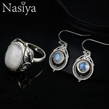 Nasiya 925 Sterling Silver Natural Moonstone Vintage Jewelry For Women Drop Earrings Ring Party Set Gift Fine