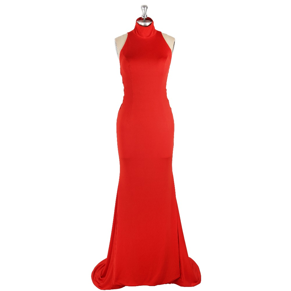 2017 Sexy Red Natural Waist Sleeveless High Neck Cut-out Mermaid Sweet Train Satin   Prom     Dress