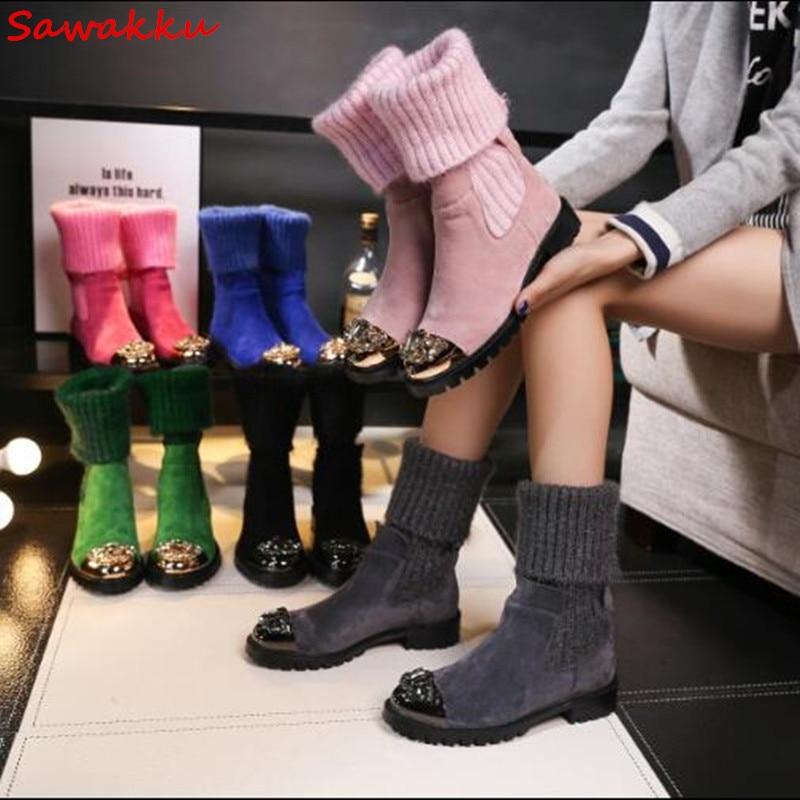 New Design Knitting Bottes Femmes Rhinestone Metal Decor Stretch Flat Botas Mujer Wool Socks Style Winter Snow Boots Size 42