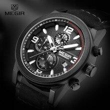 Megir Cronógrafo Luminoso Manos Calendario Impermeable Relojes de Moda Dial Grande Banda de Cuero Reloj de Cuarzo para Hombre